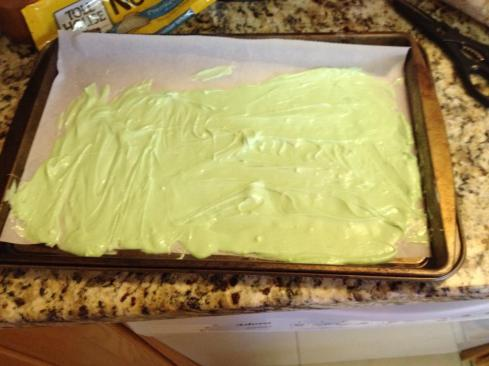 my white (green) chocolate layer, chilled for 15 mins