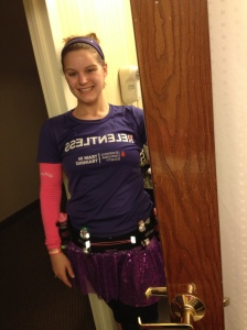 Race morning.. sporting my purple!