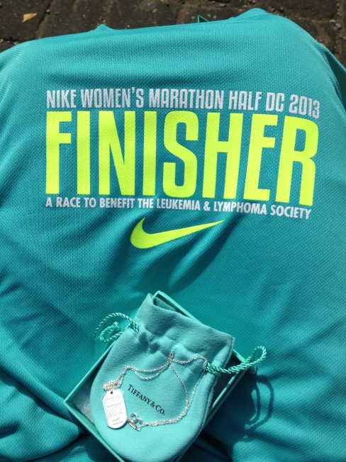 Finisher shirt and Tiffanny's necklace.