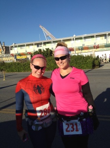 Spiderwoman and I... ready to race!