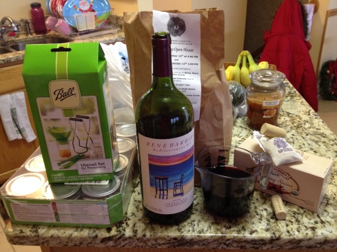 red wine, mulling spices, canning tool kit, and some 4 oz jars