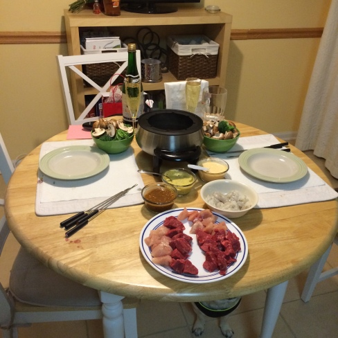 our traditional V-Day fondue dinner