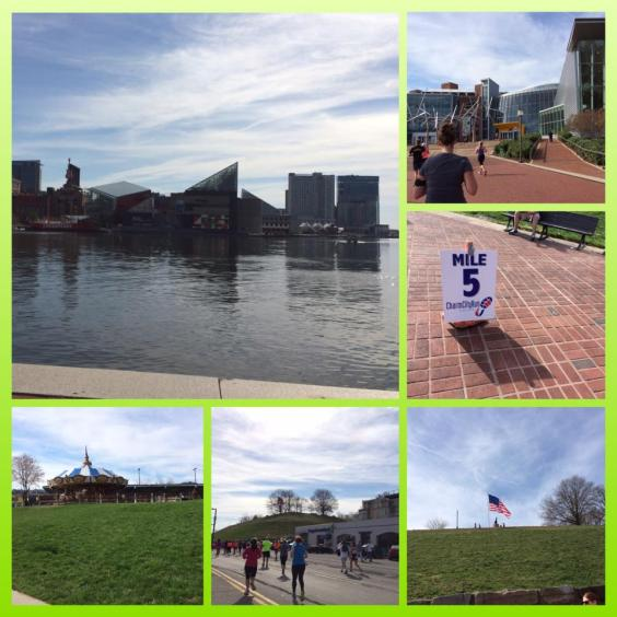 The National Aquarium across the harbor, mile 5 at the Science Center, cobblestones, and Federal Hill