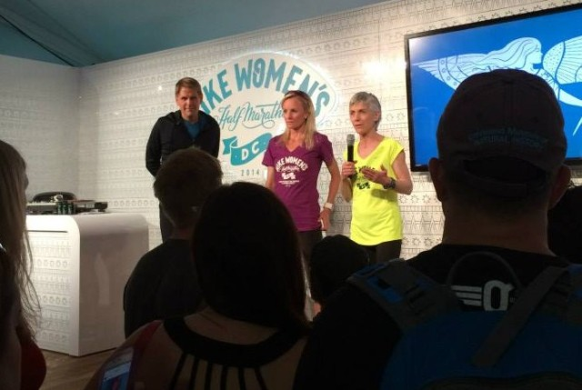 Joan Benoit Samuelson and Shalane Flanagan at the Nike Women's DC Expotique