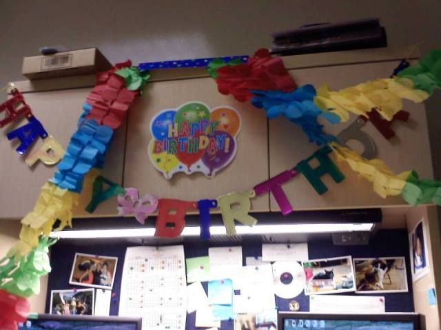 2013- my desk decorated by my coworkers for my 29th