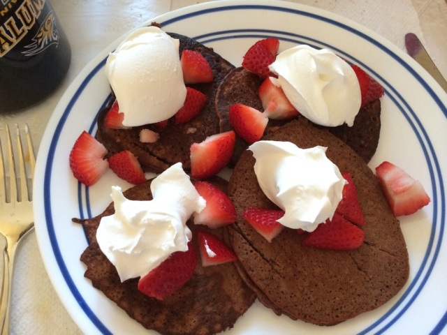THESE were mine :) Chocolate banana protein pancakes!