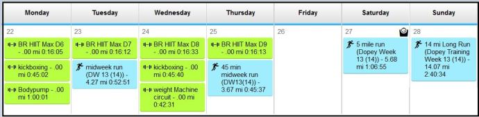 Week 12 total exercise time- 8 hrs 47 mins (cross training only time- 4 hrs 24 minutes)