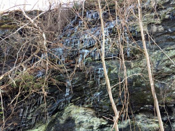 cliff side with icicles..