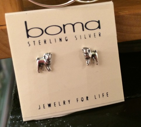 YES! Pug stud earrings at a jewelery shop!