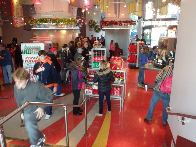 Checking out the Coca-Cola merchandise