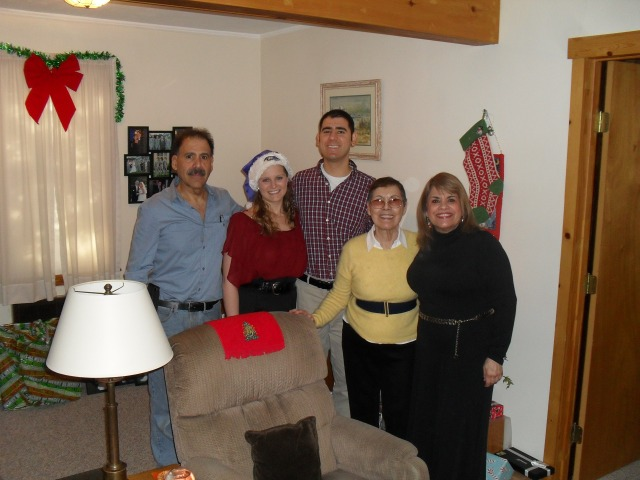 My husband and me with his father grandmother and aunt.