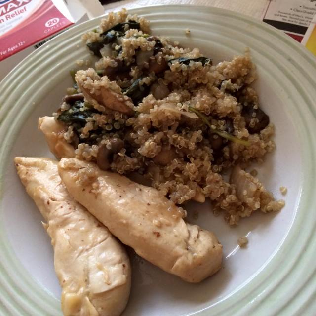 Coconut Lime chicken and spinach & mushroom quinoa